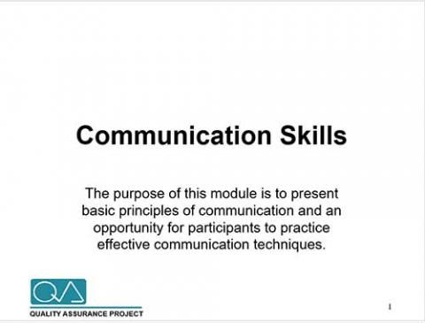 Communication Skills: training module: Power point | Quality of Care