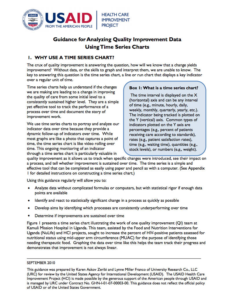 Guidance for Analyzing Quality Improvement Data Using Time Series Charts